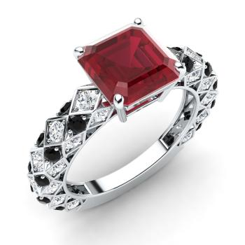 Caress Ring With Princess Cut Ruby Black Diamond Si Diamond 2 45 Carats Square Ruby Sidestone Ring In 14k White Gold Diamondere