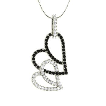 Carol necklace with round black diamond si diamond 067 carat black diamond heart necklace in 14k white gold with si diamond aloadofball Images