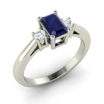 Emerald Cut Shire And Diamond Three Stone Engagement Ring In 10k White Gold