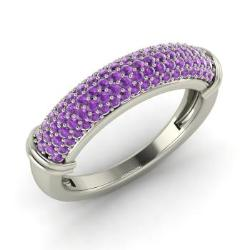 amethyst wedding ring in 14k white gold 074 cttw charm - Amethyst Wedding Ring