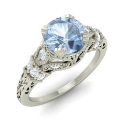 Aquamarine Engagement Ring in 14k White Gold with SI Diamond (0.98 ct.tw.