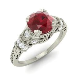 Claudine Ring with Round Ruby SI Diamond 126 carat Round Ruby