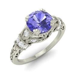 tanzanite engagement ring in 14k white gold with si diamond 095 cttw - Tanzanite Wedding Rings