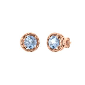 Aquamarine Studs Earring In 18k Rose Gold
