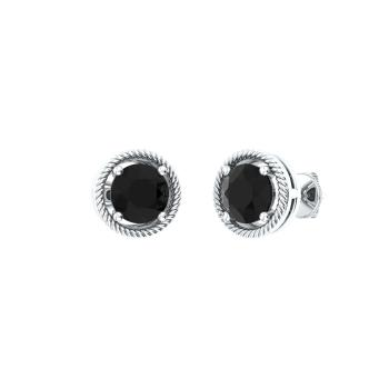 Black Diamond Studs Earring In 14k White Gold