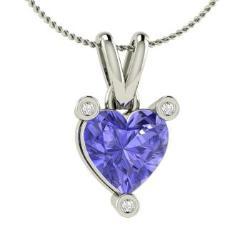 Heart tanzanite necklaces heart cut tanzanite pendants diamondere heart cut tanzanite and diamond necklace in 14k white gold 066 ct aloadofball Gallery