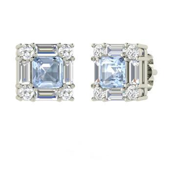 Emerald Cut Aquamarine Studs Earring In 14k White Gold With Si Diamond Vs