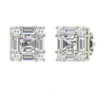 f1782c1e7 Cuddle Earring with Emerald cut White Topaz, VS Diamond | 2.13 carat ...