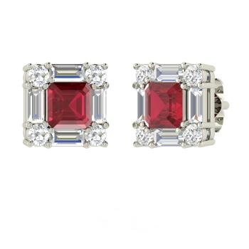 Emerald Cut Ruby Studs Earring In 14k White Gold With I Diamond Vs
