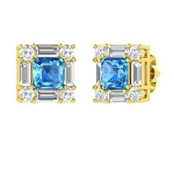 Emerald Cut Blue Topaz Earrings In 14k Yellow Gold With Diamond Vs