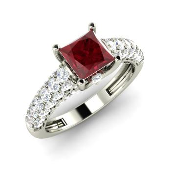 Dalene Engagement Ring With Princess Cut Ruby Si Diamond 1 6