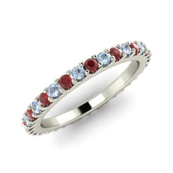 Aquamarine And Garnet Wedding Bands Ring In 14k White Gold