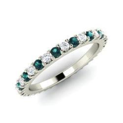 Blue Diamond And Wedding Ring In 14k White Gold Danette