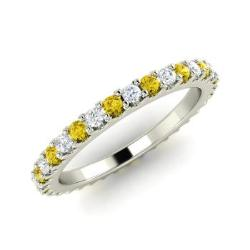 Yellow Diamond And Wedding Ring In 14k White Gold Danette
