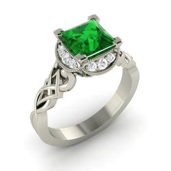 Princess-Cut Emerald and Diamond Sidestone Ring in 14k White Gold