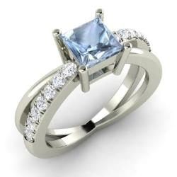 Aquamarine Engagement Rings For Women March Birthstone