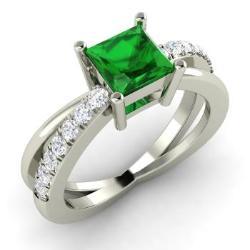 Princess Cut Emerald And Diamond Ring In 14k White Gold Darelena