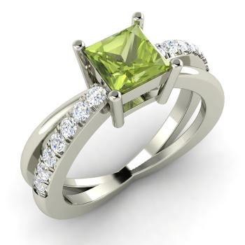 princess cut peridot and i diamond sidestone engagement ring in 14k white gold - Peridot Wedding Rings