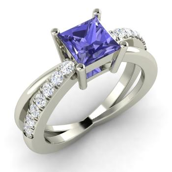 Princess Cut Tanzanite And I Diamond Sidestone Engagement Ring In 14k White Gold