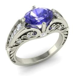 tanzanite engagement ring in 14k white gold with si diamond 131 cttw - Tanzanite Wedding Rings