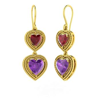 a2542b21 Delicia Earring with Heart cut Ruby, Amethyst | 4.53 carat Heart ...