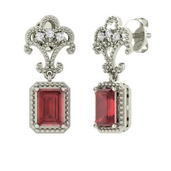 Emerald Cut Garnet And Diamond Drops Earring In 14k White Gold