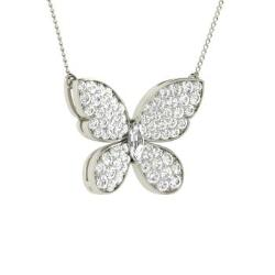 c9729e2841b VVS Diamond and VS Diamond Nature Necklace in 14k White Gold - Dereka