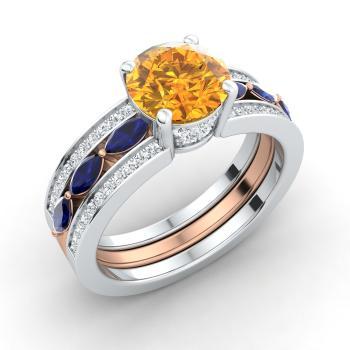 b425bd69c80 14k White Gold Citrine Sidestone Engagement Ring with Sapphire