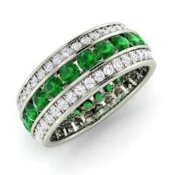 emerald and diamond wedding ring in 14k white gold 291 cttw - Emerald Wedding Ring