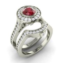 Ruby Bridal Set Ring In 14k White Gold With Diamond   Edria