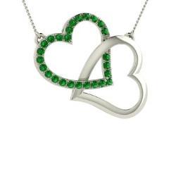 Heart emerald necklaces heart emerald pendants diamondere emerald heart necklace in 14k white gold 042 ct eleanor aloadofball Images