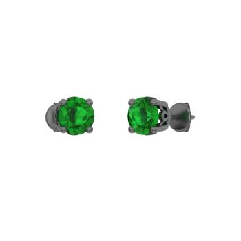 Emerald Studs Earring In 14k Black Gold