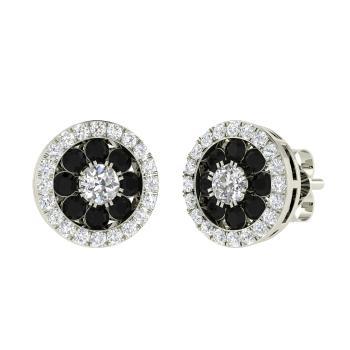 b1908476a VVS Diamond Studs Earring in 14k White Gold with Black Diamond, SI Diamond