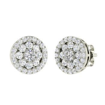 Vvs Diamond Studs Earring In 14k White Gold With Si