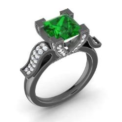 Emerald Engagement Ring in 14K Black Gold with SI Diamond (1.44 ct.tw.