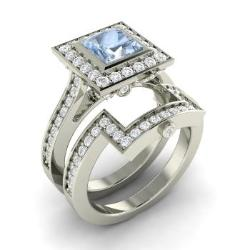 Superieur Aquamarine Bridal Set Ring In 14k White Gold With Diamond   Elmira