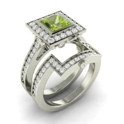 peridot bridal set ring in 14k white gold with diamond 175 cttw - Peridot Wedding Rings