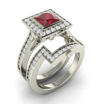 Princess Cut Ruby Bridal Set Engagement Ring In Sterling Silver With Si Diamond