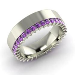 amethyst wedding ring in 14k white gold 12 cttw eloise - Amethyst Wedding Ring