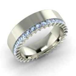 Aquamarine Wedding Ring In 14k White Gold 12 Cttw