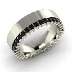 Black Diamond Wedding Ring In 14k White Gold Eloise