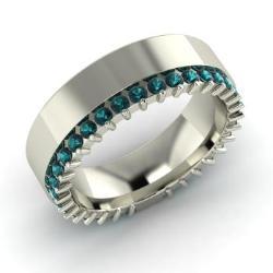 Blue Diamond Wedding Ring In 14k White Gold Eloise