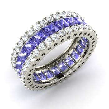 Princess Cut Tanzanite And Diamond Wedding Ring In 14k White Gold