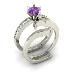 amethyst and diamond bridal set ring in 14k white gold 121 cttw - Amethyst Wedding Ring