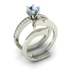 Aquamarine And Diamond Bridal Set Ring In 14k White Gold   Emblem