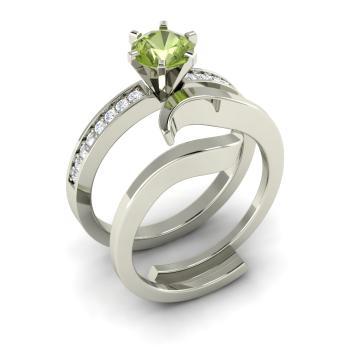 Emblem Ring With Round Peridot Vs Diamond 1 28 Carat Round