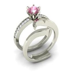 Bridal Ring Set Pink Tourmaline | Pink Tourmaline Bridal Rings ...