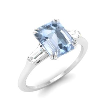 Emerald-Cut Aquamarine  and VS Diamond Three stone Engagement Ring in 14k White Gold