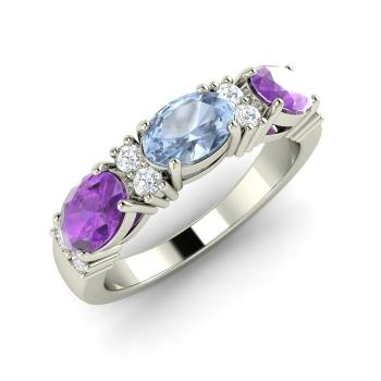 Esmerna Engagement Ring with Oval Aquamarine Amethyst SI Diamond