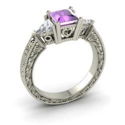 Amethyst Engagement Ring In 14k White Gold With Vs Diamond Esperance